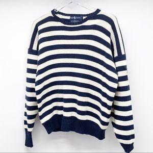 Ralph Lauren Navy Striped Crewneck Sweater Size M